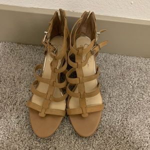 Nude Wedged Sandals